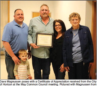 Retiring DPW And Utilities Supervisor Dave Magnussen Honored   At May Common Council Meeting