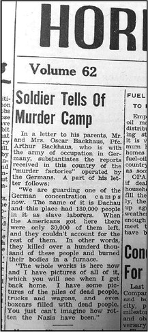 Horicon Reporter Article From 1945 To Be Included In U.S. Holocaust Memorial Museum Archives