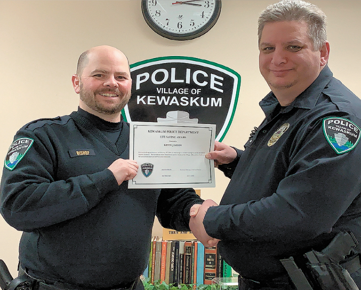 Two Kewaskum Police Officers Receive Awards For Saving A Life