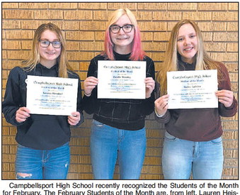CHS February Students  Of The Month
