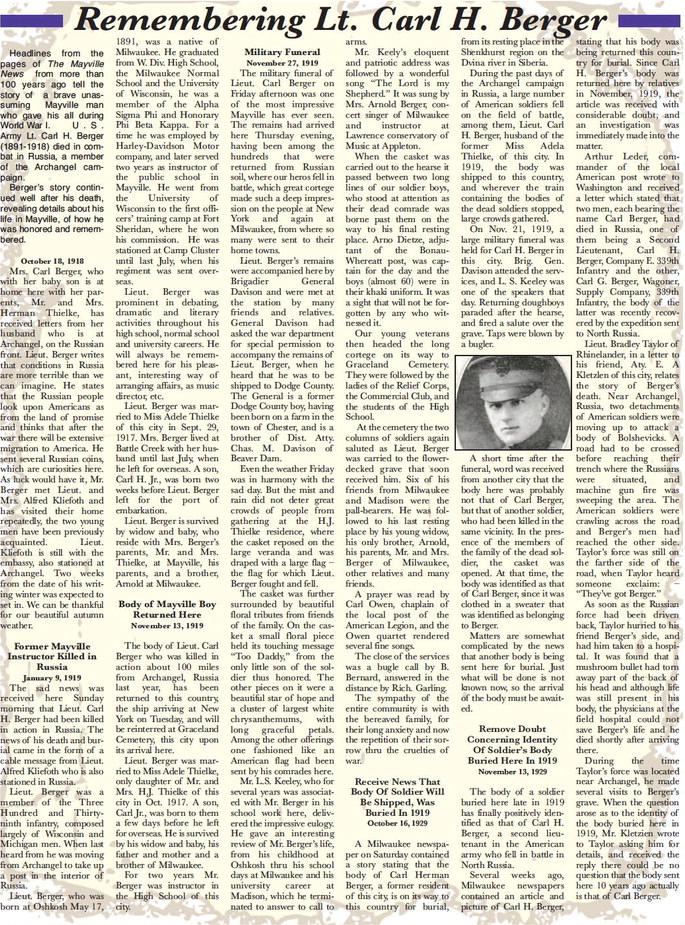 Remembering Lt. Carl H. Berger